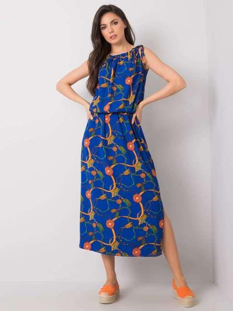 Kobaltowa sukienka z nadrukiem Amaranta RUE PARIS