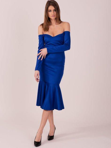 Kobaltowa sukienka z szeroką falbaną na dole                              zdj.                              4