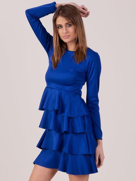 Kobaltowa sukienka z warstwowymi falbanami                              zdj.                              1
