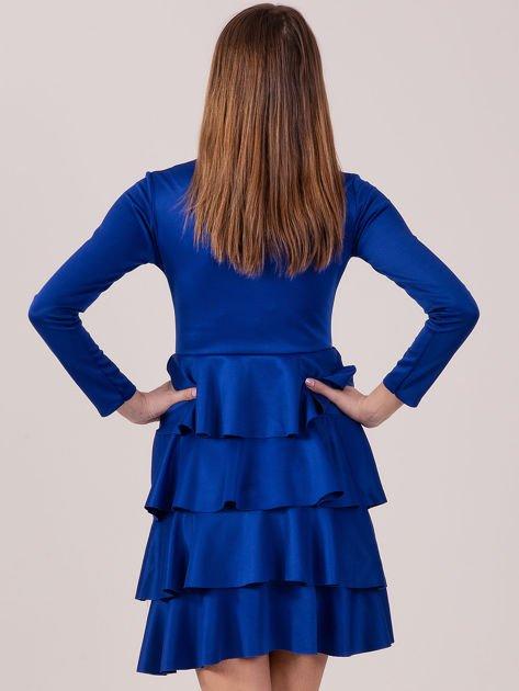 Kobaltowa sukienka z warstwowymi falbanami                              zdj.                              3