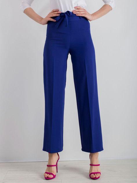 Kobaltowe szerokie spodnie z wiązaniem                              zdj.                              1