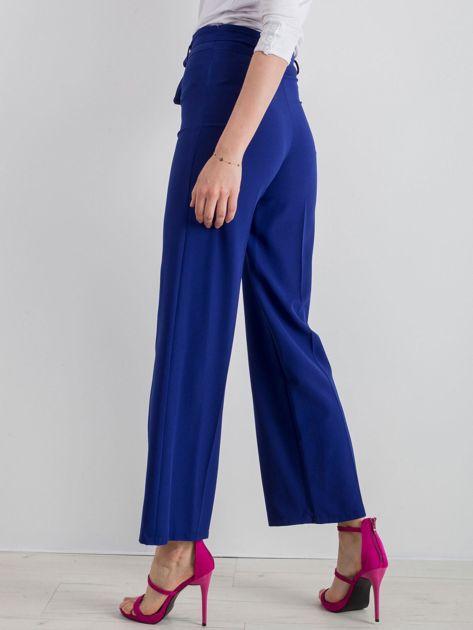 Kobaltowe szerokie spodnie z wiązaniem                              zdj.                              3