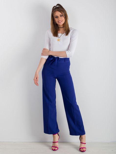 Kobaltowe szerokie spodnie z wiązaniem                              zdj.                              4
