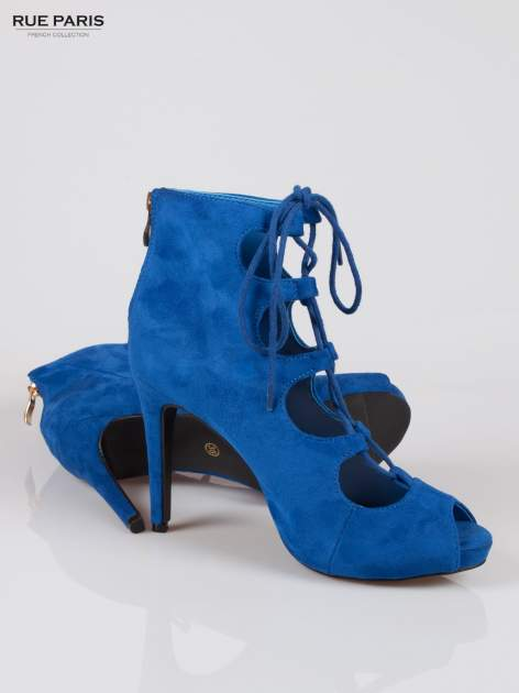 Kobaltowe sznurowane botki faux suede Kendall lace up open toe z zamkiem                                  zdj.                                  4
