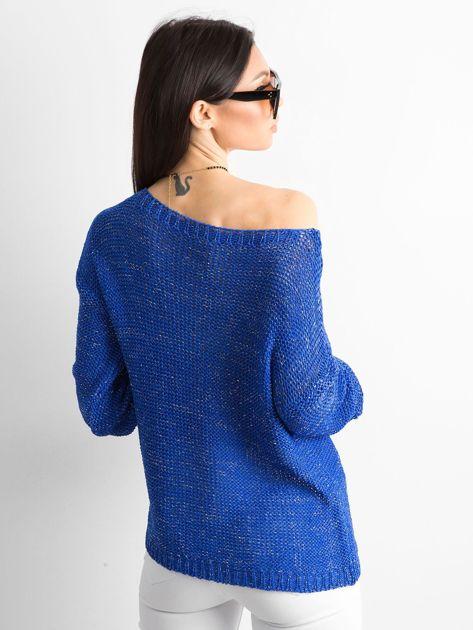 Kobaltowy sweter z metaliczną nicią                              zdj.                              2