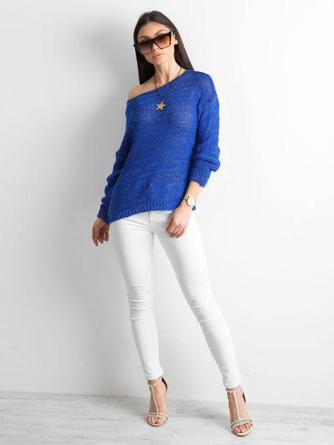 Kobaltowy sweter z metaliczną nicią                              zdj.                              4
