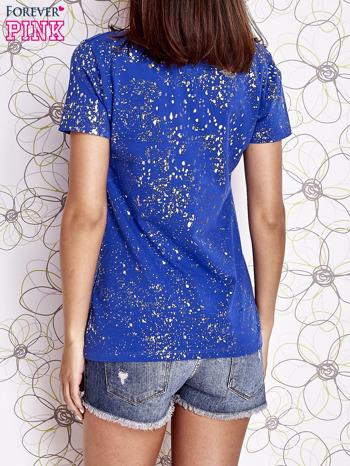 Kobaltowy t-shirt z napisem BONJOUR                                  zdj.                                  4