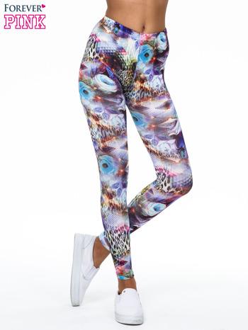 Kolorowe legginsy z kwiatowym nadrukiem                                   zdj.                                  1