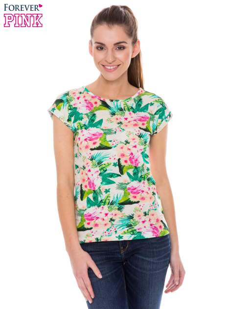 Kolorowy t-shirt w kwiaty