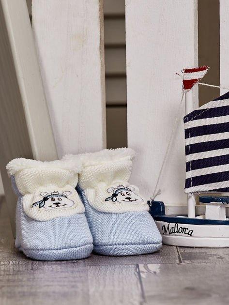 Komplet ocieplanych bucików dziecięcych ecru-jasnoniebieski                              zdj.                              8