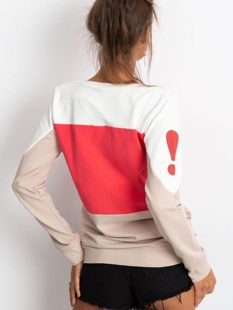 Koralowa bluza bawełniana z napisem                              zdj.                              2