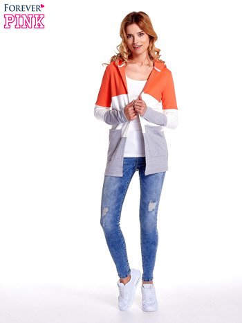 Koralowa bluza w szerokie kolorowe pasy                                  zdj.                                  2
