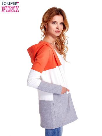 Koralowa bluza w szerokie kolorowe pasy                                  zdj.                                  3