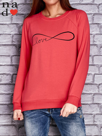 Koralowa bluza z napisem LOVE                                  zdj.                                  1