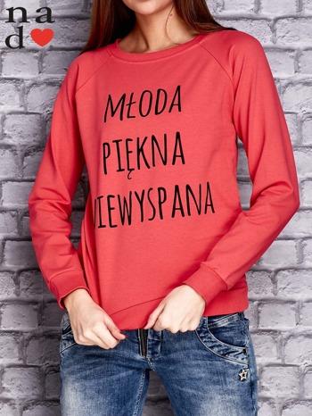 Koralowa bluza z napisem MŁODA PIĘKNA NIEWYSPANA                                  zdj.                                  1