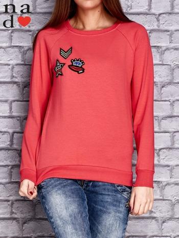 Koralowa bluza z naszywkami                                  zdj.                                  1
