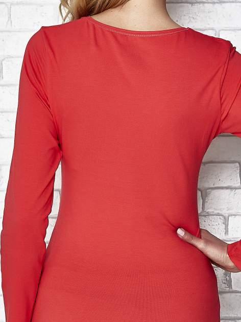 Koralowa bluzka sportowa z dekoltem V                                  zdj.                                  6