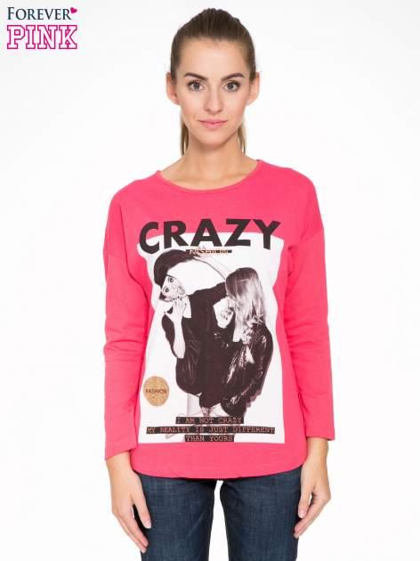 Koralowa bluzka z napisem CRAZY i nadrukiem fashionistek                                  zdj.                                  1