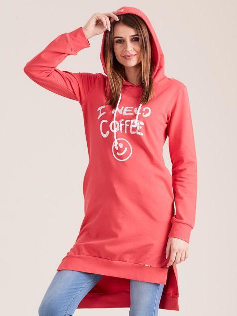 Koralowa długa bluza z kapturem I NEED COFFEE                              zdj.                              5