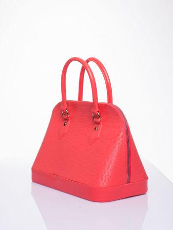 Koralowa fakturowana torba gumowa kuferek z rączką                                  zdj.                                  2