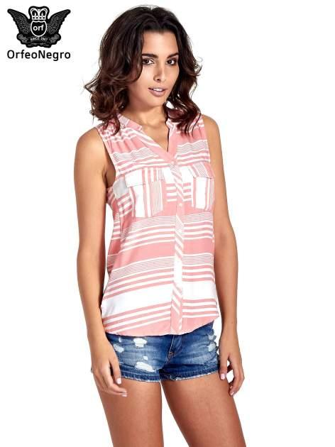 Koralowa koszula w paski bez rękawów                                  zdj.                                  1
