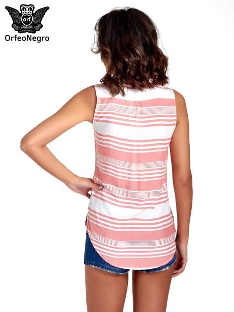 Koralowa koszula w paski bez rękawów                                  zdj.                                  2