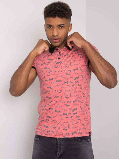 Koralowa męska koszulka polo we wzory Joshua