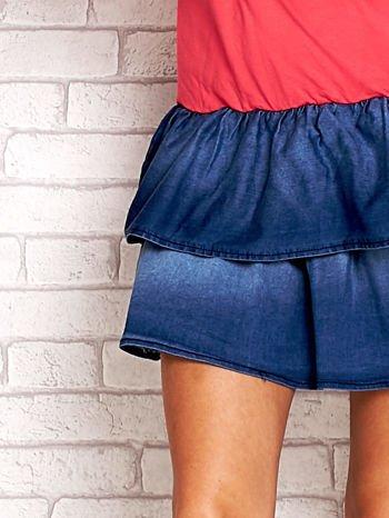 Koralowa sukienka dresowa z jeansowym dołem                                  zdj.                                  5