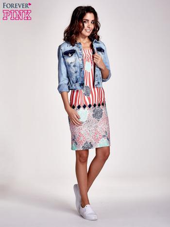 Koralowa sukienka w kwiatowe i geometryczne wzory                                  zdj.                                  2