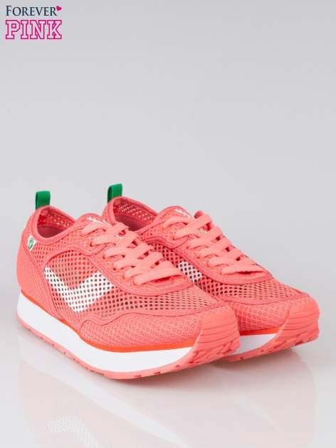 Koralowe siateczkowe buty sportowe textile High Level na platformie                                  zdj.                                  2