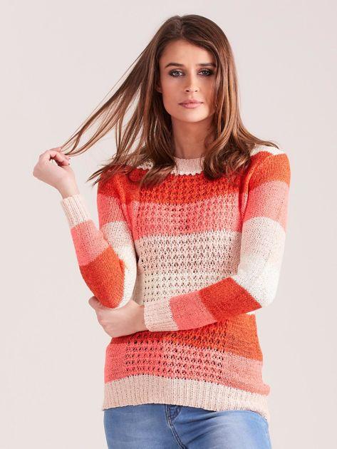 Koralowo-różowy sweter w pasy                              zdj.                              1