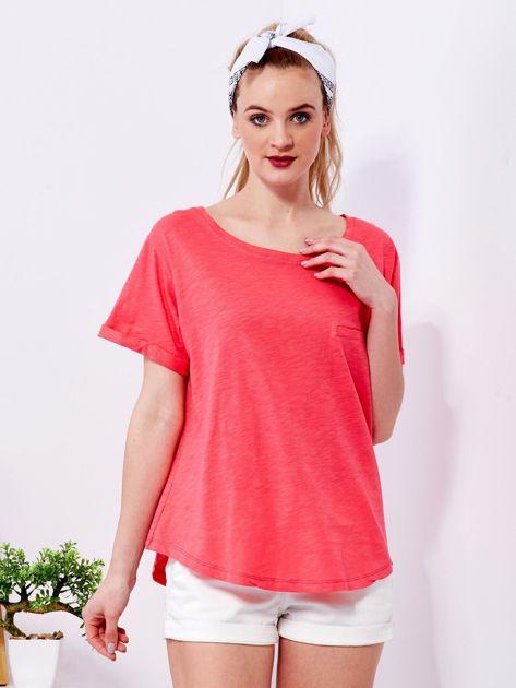 Koralowy t-shirt basic z podwijanymi rękawami                                  zdj.                                  1