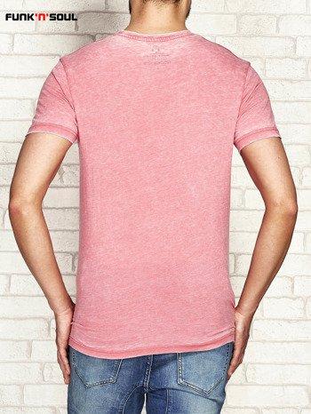 Koralowy t-shirt męski acid wash FUNK N SOUL