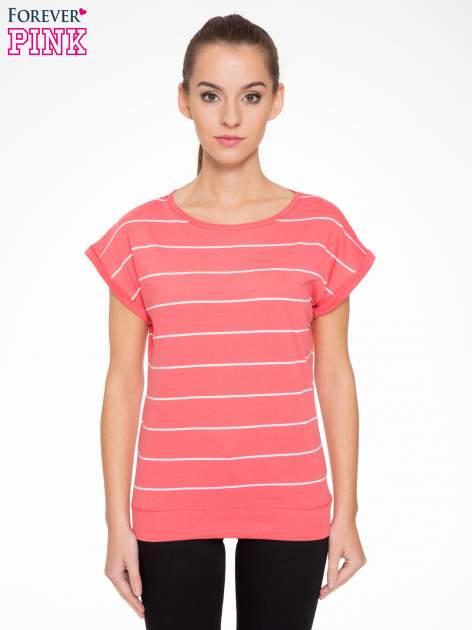 Koralowy t-shirt w paski                                   zdj.                                  1