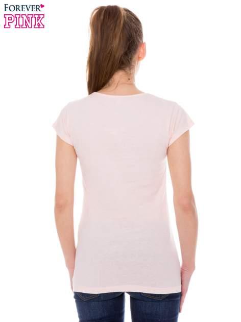 Koralowy t-shirt z nadrukiem ICE CREAM                                  zdj.                                  4