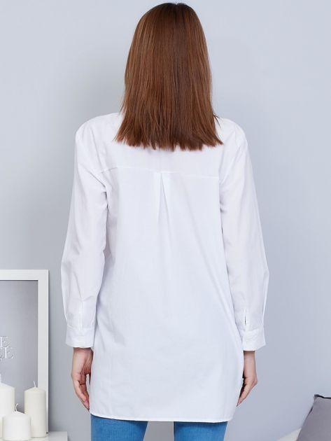Koszula biała ze stójką i haftem                              zdj.                              2