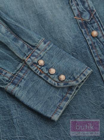 Koszula jeansowa z nakładkami                                   zdj.                                  4