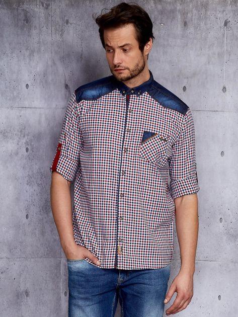 Koszula męska w kratkę z denimowym wykończeniem PLUS SIZE                              zdj.                              1