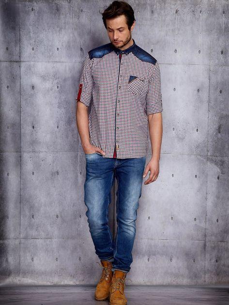 Koszula męska w kratkę z denimowym wykończeniem PLUS SIZE                              zdj.                              4