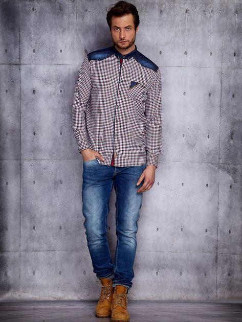 Koszula męska w kratkę z denimowym wykończeniem PLUS SIZE                              zdj.                              6