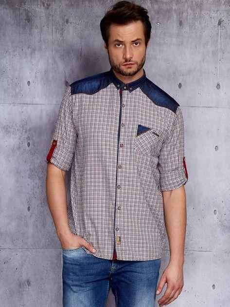Koszula męska z denimowymi modułami PLUS SIZE                              zdj.                              1