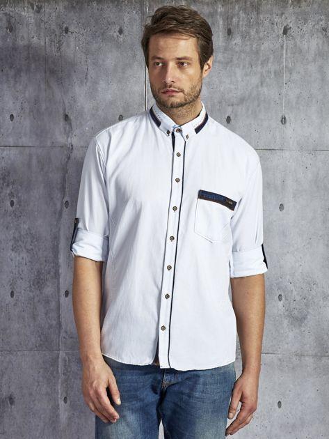 Koszula męska z kieszenią biała PLUS SIZE                              zdj.                              5