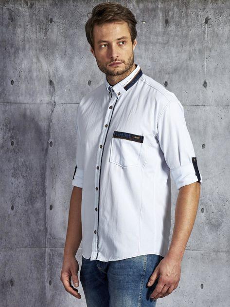 Koszula męska z kieszenią biała PLUS SIZE                              zdj.                              3