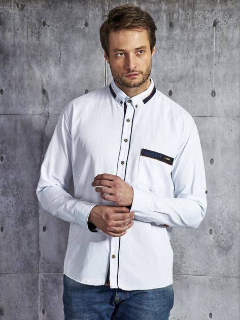Koszula męska z kieszenią biała PLUS SIZE                              zdj.                              1