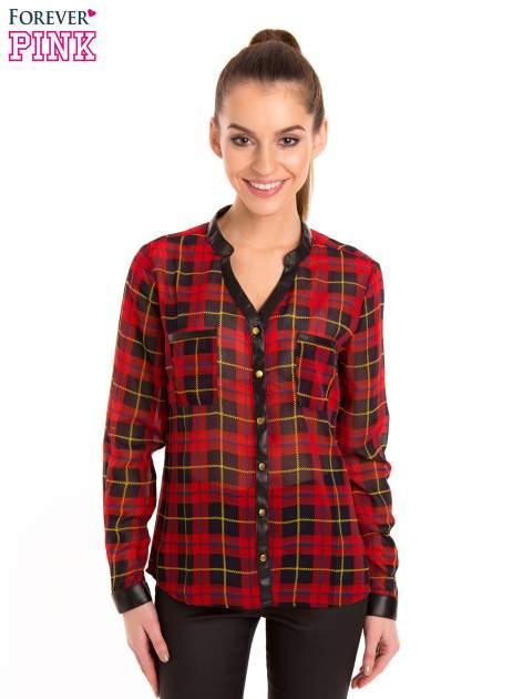 Koszula w czerwoną kratę ze skórzaną lamówką
