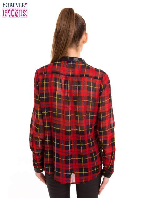 Koszula w czerwoną kratę ze skórzaną lamówką                                  zdj.                                  4