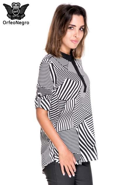 Koszula we wzór zebra print z czarną stójką i mankietami                                  zdj.                                  5