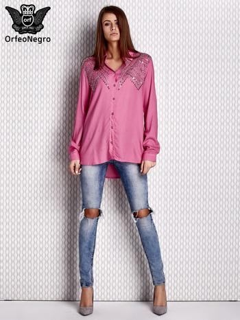 Bluzka z aplikacją różowa                              zdj.                              3
