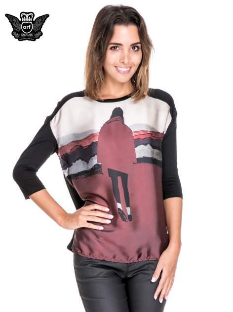 Koszula z satynowym przodem i nadrukiem kobiety                                  zdj.                                  1