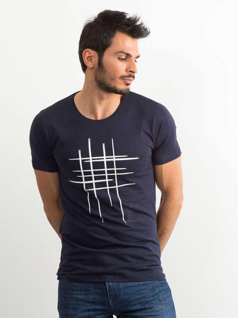 Koszulka męska z bawełny granatowa                              zdj.                              1
